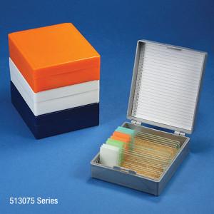 Slide Box for 25 Slides, Cork Lined, 5 Assorted Colors (Gray, Blue, Dark Gray, Orange and White), box/5