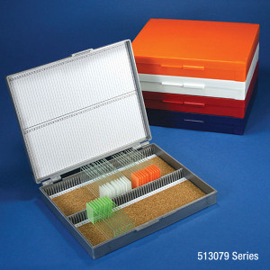 Slide Box for 100 Slides, Cork Lined, 5 Assorted Colors (Gray, Blue, Dark Gray, Orange and White), box/5