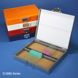 Slide Box for 100 Slides, Cork Lined, Stainless Steel Lock, 5 Assorted Colors (Gray, Blue, Dark Gray, Orange and White), box/5