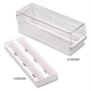 Slide Storage Box with Hinged Lid and Removable Draining Tray, 100-Place for up to 200 Slides, ABS, White, 6/Unit, case/6