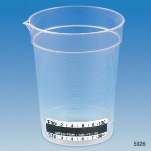 Specimen Container, 6.5oz with Thermometer Strip, Pour Spout, PP, Graduated, case/500