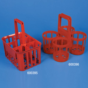 Bottle Carrier, 4 Position for up to 120mm Wide Bottles, HDPE, Red