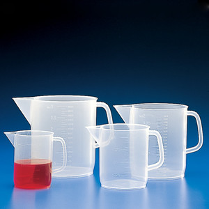 Beaker with Handle, Polypropylene, Graduations, 2000mL, case/36