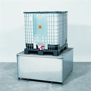 1-Tote Stainless Steel Stand with SS Grating, Single IBC