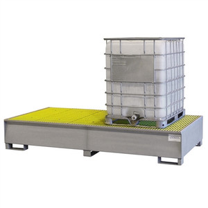 Double-Tote IBC Tote Containment Pallet, Sump, Steel, Fiberglass Grating