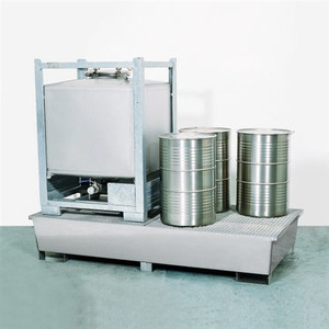 Double-Tote IBC Tote Containment Pallet, Sump, Steel, SS Grating