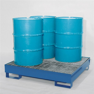 4-Drum Containment Spill Pallet, Painted Steel with Grating