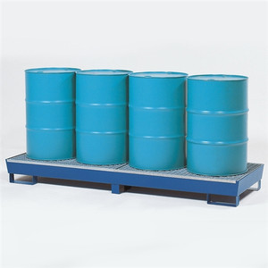 4-Drum Inline Painted Steel Spill Containment Pallet w/Grating