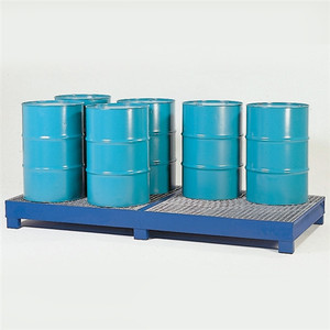 8-Drum Painted Steel Spill Pallet w/Grating
