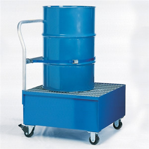 1-Drum Steel Painted Steel Spill Cart w/Grating