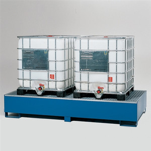 2-Tote IBC Containment Pallet, Sump, Painted Steel