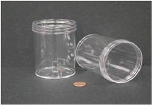 Bulk Plastic Jars, 240mL (8oz), Polystyrene, 70mm OD, Screw Caps, case/150