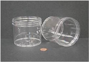 Bulk Plastic Jars, 360mL (12oz), Polystyrene, 89mm OD, Screw Caps, case/112