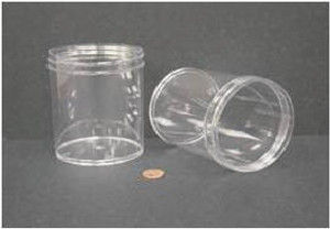 Bulk Plastic Jars, 480mL (16oz), Polystyrene, 89mm OD, Screw Caps, case/84
