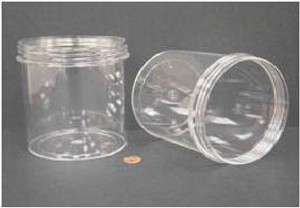 Bulk Plastic Jars, 1200mL (40oz), Polystyrene, 120mm OD, Screw Caps, case/30