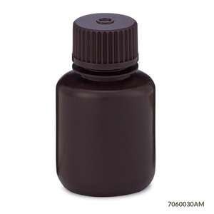Bottles, Narrow Mouth HDPE with PP Screw Caps, Amber, 30mL, pack/12