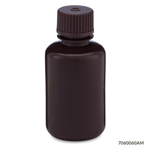 Bottles, Narrow Mouth HDPE with PP Screw Caps, Amber, 60mL, pack/12