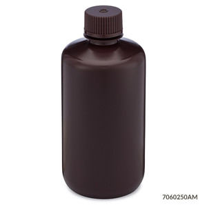 Bottles, Narrow Mouth HDPE with PP Screw Caps, Amber, 250mL, pack/12