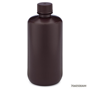 Bottles, Narrow Mouth HDPE with PP Screw Caps, Amber, 500mL, pack/12
