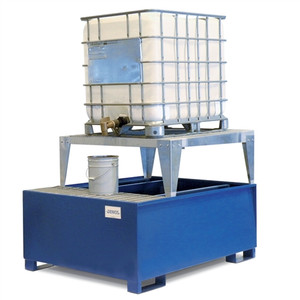 1-Tote IBC Dispensing Platform, Stand, Single IBC Pallet, Painted Steel