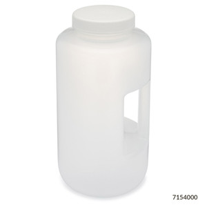 Large Wide Mouth Bottle with Handle, Round, Polypropylene, 100mm PP Screw Cap, 4 Liter