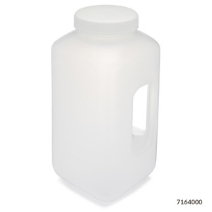Large Wide Mouth Bottle with Handle, Square, Polypropylene, 100mm PP Screw Cap, 4 Liter