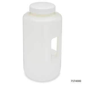 Large Wide Mouth Bottle with Handle, Round, HDPE, 100mm PP Screw Cap, 4 Liter