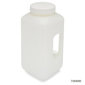 Large Wide Mouth Bottle with Handle, Square, HDPE, 100mm PP Screw Cap, 4 Liter