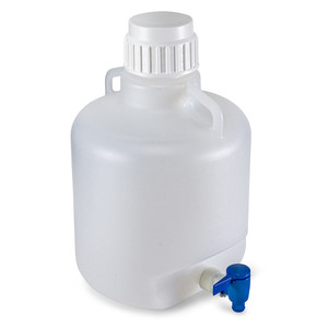 Carboy with Spigot and Handles, Autoclavable Polypropylene, White PP Cap, 10 Liter, Graduated