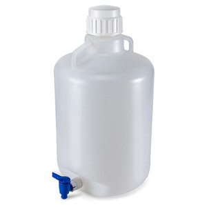 Carboy with Spigot and Handles, Autoclavable Polypropylene, White PP Cap, 20 Liter, Graduated