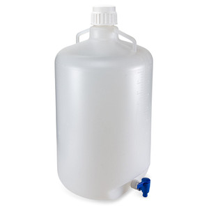 Carboy with Spigot and Handles, Autoclavable Polypropylene, White PP Cap, 50 Liter, Graduated