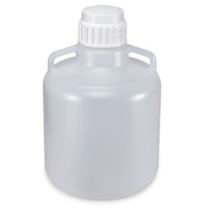 Carboy, Round with Handles, LDPE, White PP Cap, 10 Liter, Graduations