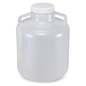 Carboy, Round with Handles, Wide Mouth, LDPE, White PP Cap, 10 Liter, Graduations