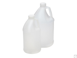 Plastic Jugs with Handle, 4 Liter HDPE with 38-400 Caps, case/4