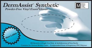 Dermassist® Vinyl Synthetic Powder-Free Exam Gloves, Vinyl, Smooth, case/1000