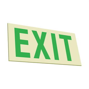 EcoGlo Glow in the Dark EXIT Sign, Indoor-Outdoor, One-Sided, Unframed