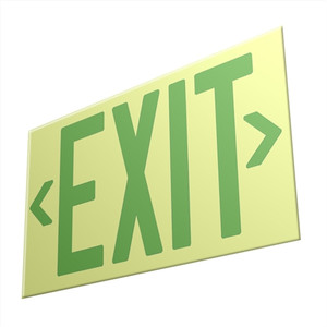 EcoGlo Glow in the Dark EXIT Sign, One-Sided, Unframed