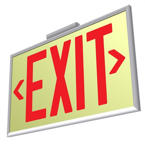 EcoGlo Glow in the Dark EXIT Sign, One-Sided, Framed-Red Letters