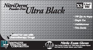Nitriderm® Ultra Medical Grade Exam Gloves, Nitrile, Chemo, Powder-Free, Textured, Black, case/1000