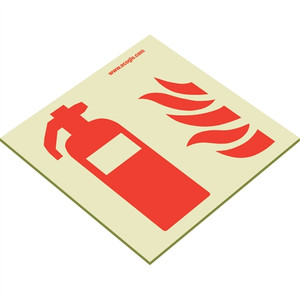 EcoGlo Glow in the Dark Fire Extinguisher Sign, One-Side, Unframed
