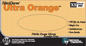 Nitriderm® Ultra Orange® Powder-Free Exam Gloves, Nitrile, PF, Textured, case/1000