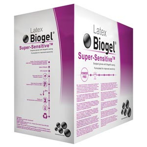 Biogel® Super-Sensitive Surgical Gloves, Sterile, Latex, Powder-Free, case/200