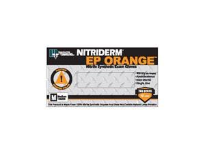 Nitriderm® EP Orange® Powder-Free Exam Gloves, Nitrile, Textured, 6.5 mil High Risk, case/1000