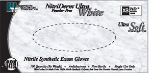 Nitriderm® Ultra Thinfilm Synthetic Exam Gloves, Nitrile, Powder-Free, Textured, White, case/1000