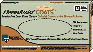Dermassist® Coats Latex Exam Gloves, Powder-Free, Colloidal Oatmeal, Therapeutic, case/1000