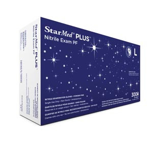 Starmed Plus® Disposable Exam Gloves, Nitrile, Powder-Free, Textured, case/3000