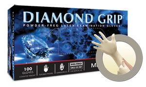 Microflex Diamond Grip Exam Gloves, Powder-Free, Latex, Textured, Large, case/1000