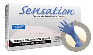 Ansell Microflex Sensation® Exam Gloves, Powder-Free, Nitrile, Textured, Blue, case/1000