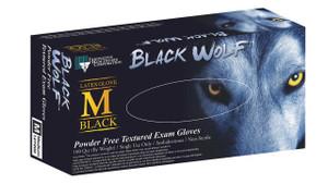 Black Wolf Exam Gloves, Latex, Powder-Free, Textured, Black, case/1000