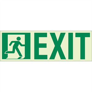 "EcoGlo Glow in the Dark ""Running Man, Exit"" Sign, Unframed, 13"" x 4.6"""